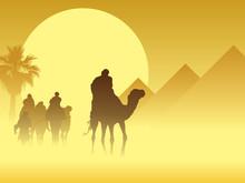Caravan Near Pyramids