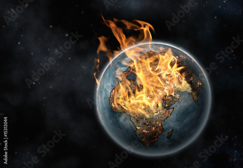 Fotografie, Obraz  Digital creation of Planet Earth on fire viewed from space