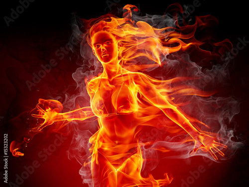 Stickers pour porte Flamme Hot girl