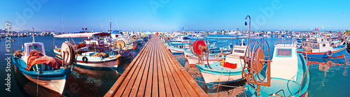 Garden Poster Cyprus harbor with fishing boats