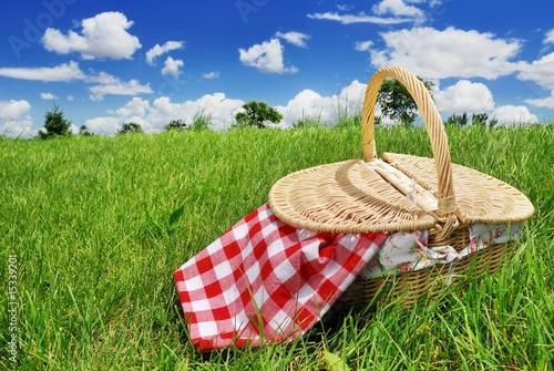 Stickers pour portes Pique-nique Closeup of Food Basket on meadow
