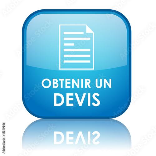 """Fotografía  Bouton carré """"OBTENIR UN DEVIS"""" (bleu)"""