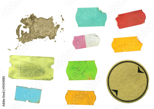 Set of warn adhesive labels