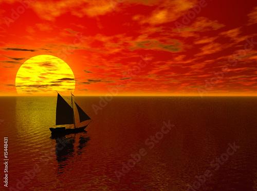 Photo sur Toile Rouge mauve Sailing into the Sunset