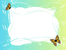 Blue Green Frame With Butterflies