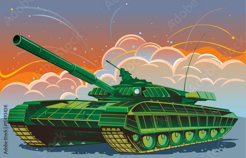 Deurstickers Militair Tank, against the backdrop of fighting