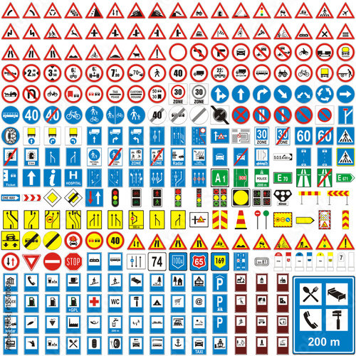 three hundread vector detailed european traffic signs