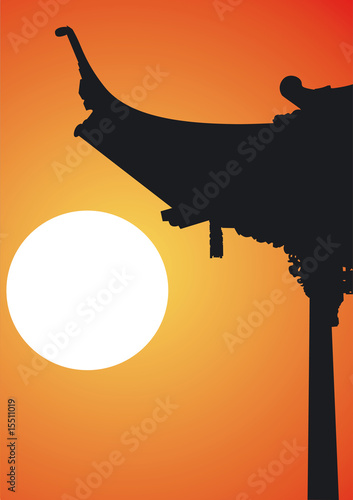 Foto-Kassettenrollo premium - Chinesische Pagode