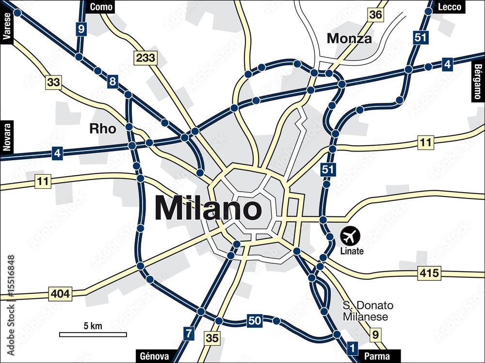 Stadtplan Mailand / Milano Foto, Poster, Wandbilder bei EuroPosters