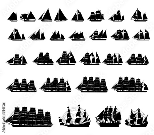 Fényképezés 29 different types of sailboats.vector silhouette