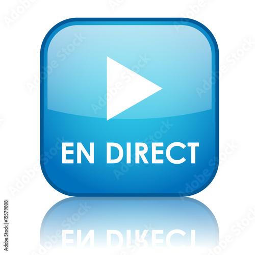 "Bouton carré ""EN DIRECT"" avec reflet (bleu) Poster"