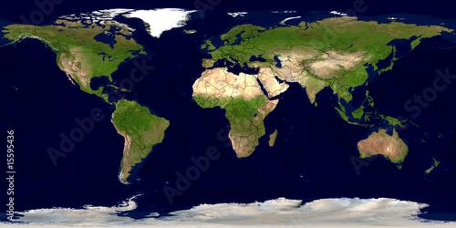 Foto  Erde mit Ländergrenzen