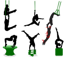 Silhouettes Of Circus Performe...