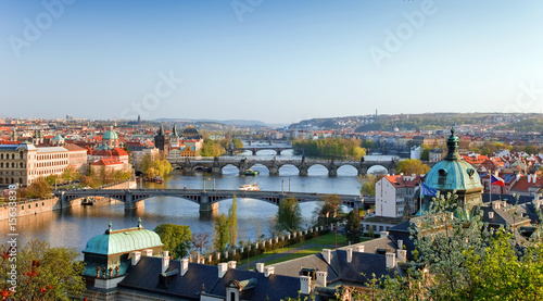 Printed kitchen splashbacks Prague View on Prague Bridges at sunset