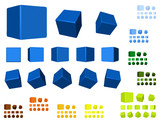 rotating cubes color variations