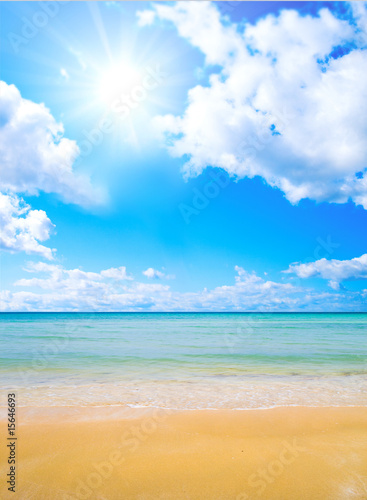 Foto-Kissen - Sun over paradise sea shore