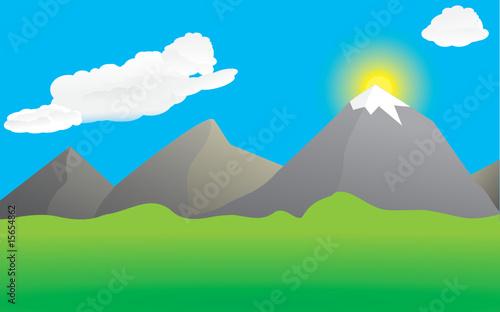 Printed kitchen splashbacks Purple Mountains and valley