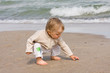 Young boy (one year old) on beach