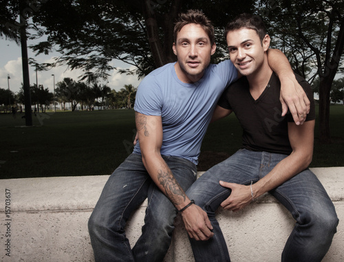 Fotografie, Obraz  Two handsome young gay men in the park