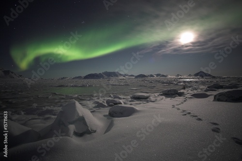 Cadres-photo bureau Olive Northern lights, Spitsbergen
