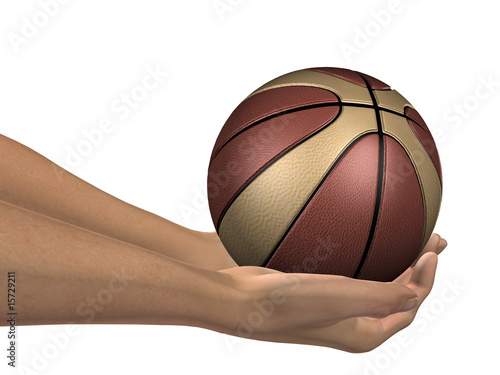 Deurstickers Retro brown and beige 3D basket ball held in hands by an adult male