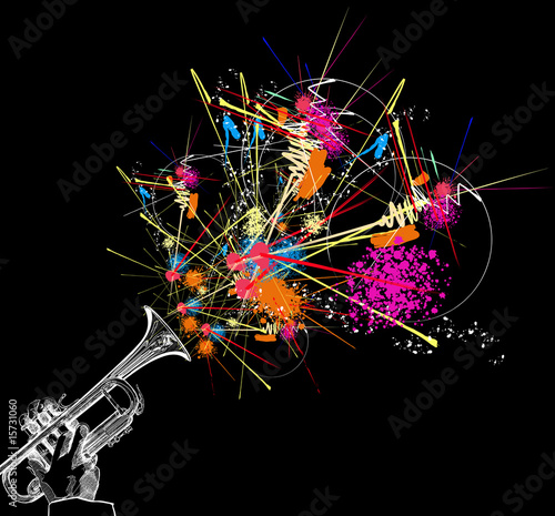 trumpet with colorful abstract decoration