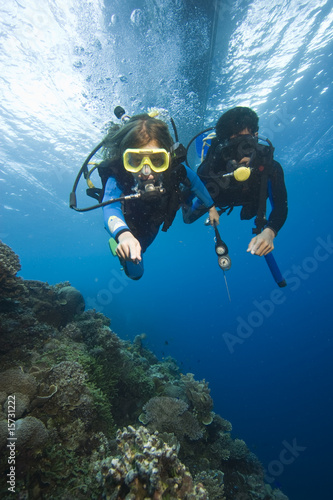 Spoed Foto op Canvas Duiken Kinder lernen Tauchen|Children learn diving|