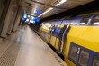 A train waits for passengers in a subway in Amsterdam.