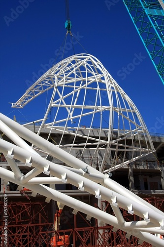 Spoed Foto op Canvas Stadion Stadium Roof Construction