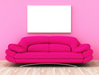 Leinwanddruck Bild - pink sofa