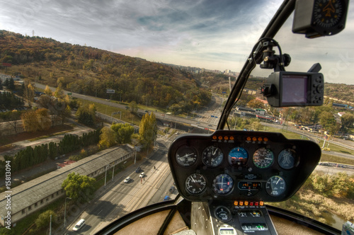 Photo View from the helicopter cockpit