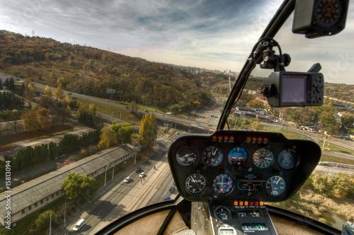 Türaufkleber Hubschrauber View from the helicopter cockpit