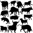 Bull Set Silhouettes 1 - black hand drawn illustration