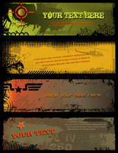 Set Of Four Grungy Military Banners