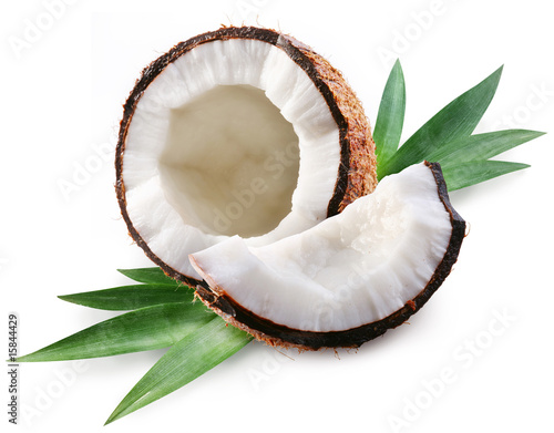 Foto auf Leinwand Palms coconut on a white background