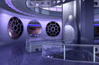 Leinwandbild Motiv 3D spaceship or ufo
