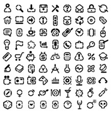 Stencil Icons For Web, Business, Science, Media, Leisure