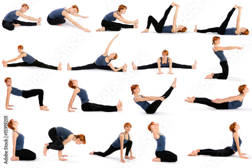 Valokuva  Woman in Various Sitting Yoga Poses