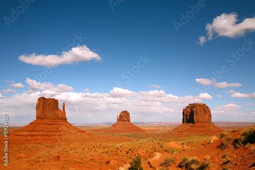 Fotografie, Obraz  Landscape of Three Monument Valley Buttes