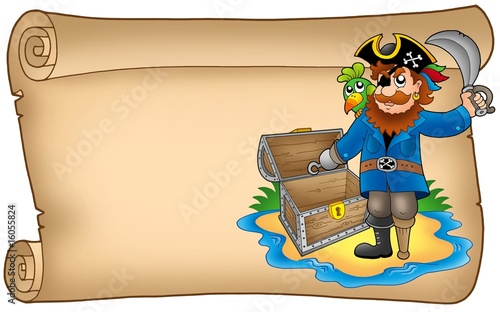 Foto op Canvas Piraten Old scroll with pirate