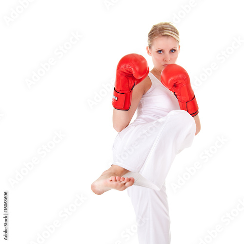 Photo  Young woman as fighter