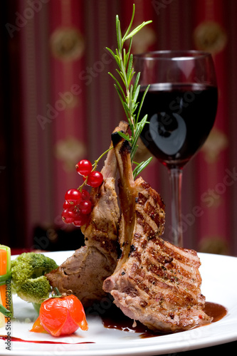 A Rib Steak, selective focus on meat. Canvas Print