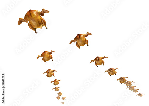 Roasted chickens flying in V-formation. 3D rendered image Canvas Print