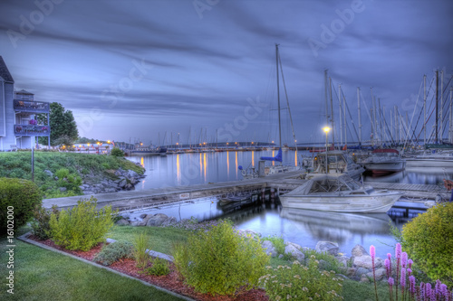 Marina at dusk, HDR