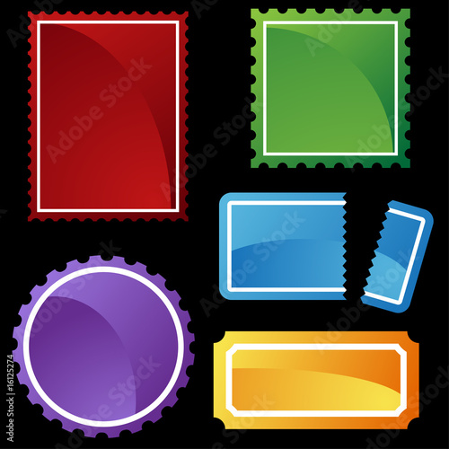 perforated ticket icon set color