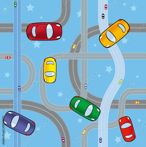 Poster de jardin Route cars on roads