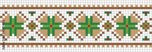 Autocollant pour porte Pixel Mosaic floral background