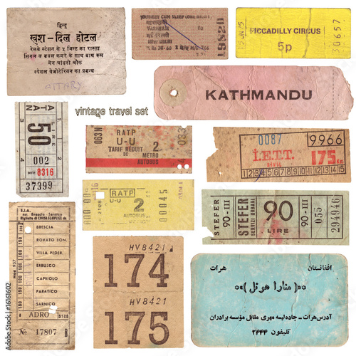 vintage tickets from around the world and other travel documents