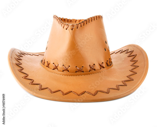 Poster de jardin Vache cowboy's leather hat isolated