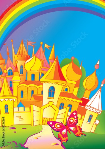 Poster Kasteel Beautiful palace with a butterfly and rainbow. Fairy-tale.